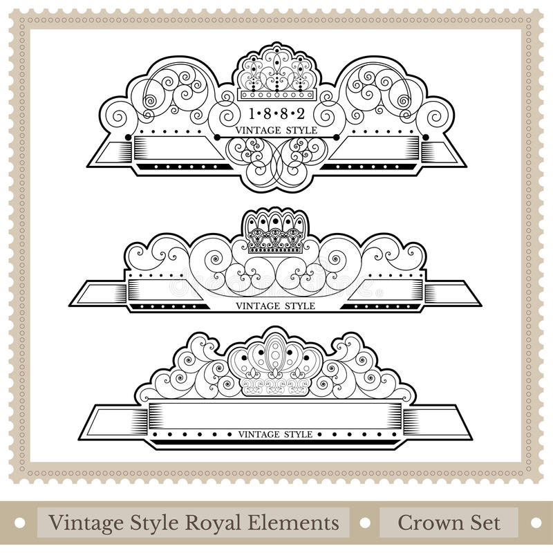 Set of ornate headpieces royal style royalty free illustration