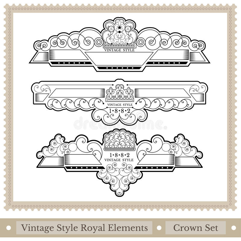 set of ornate headpieces royal style - great chapter dividers stock illustration