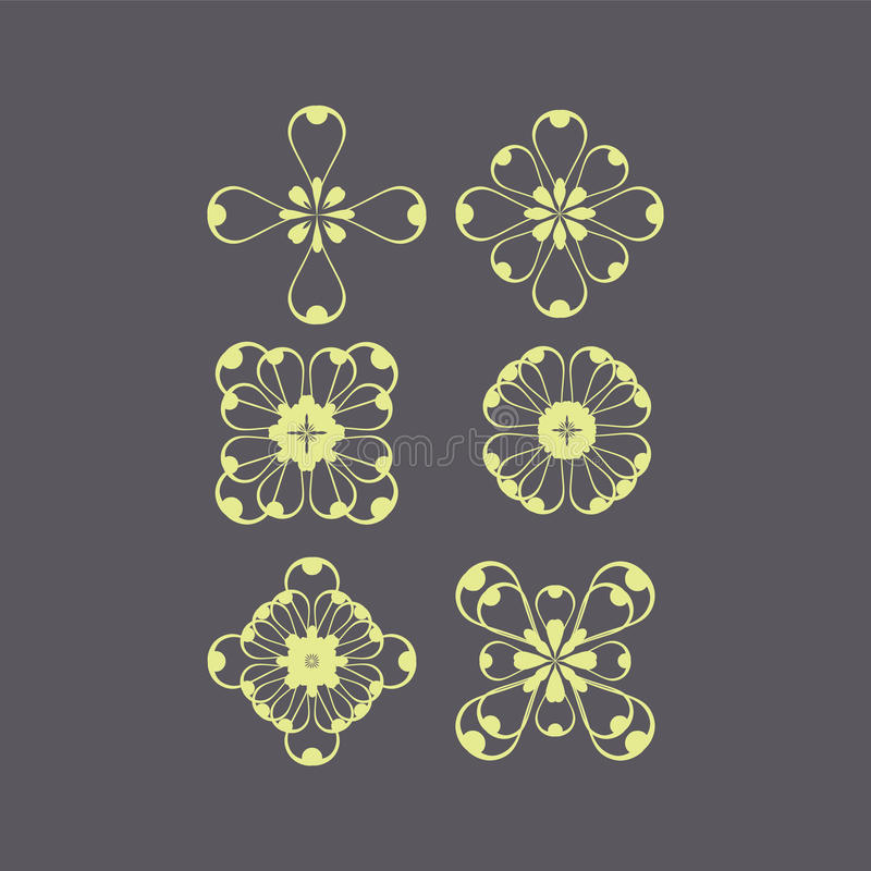 set of ornate monograms. Vector rounded ornaments with floral elements for invitation, and greeting card. vector illustration