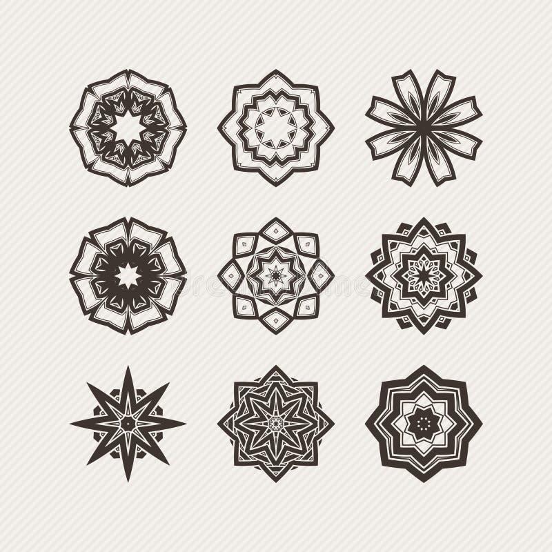 Set of ornate vector mandala symbols gothic lace tattoo for Circular symbols tattoos