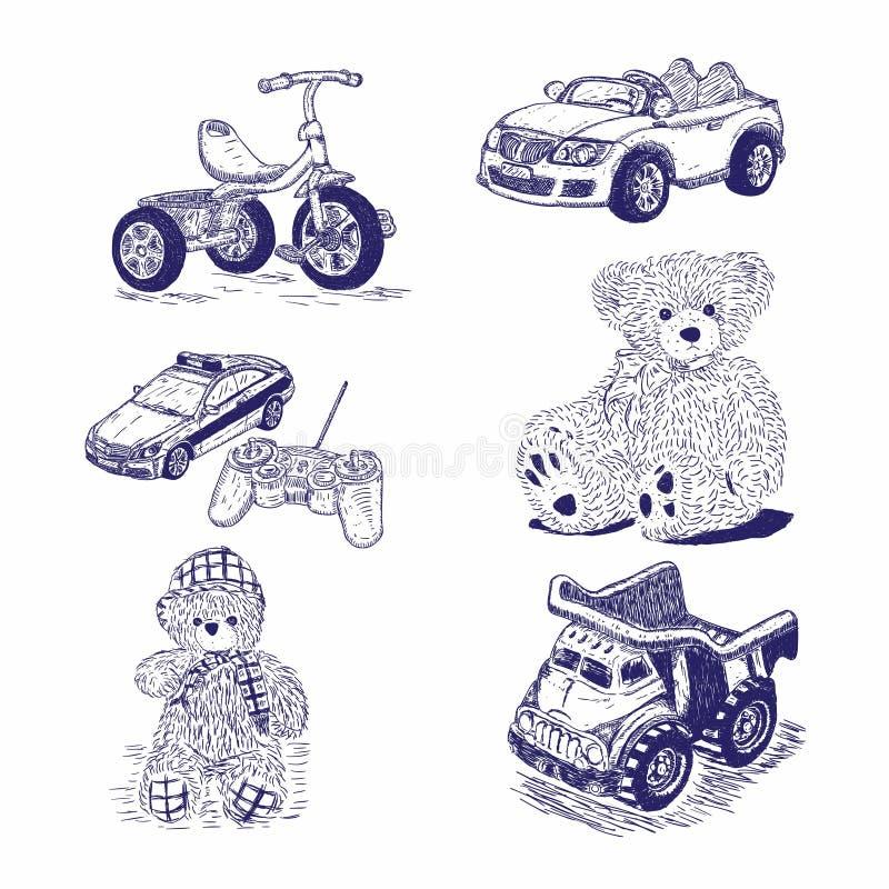 Set oryginał ręka rysująca kolekcja Ręka rysujący rocznik bawi się kolekcję royalty ilustracja