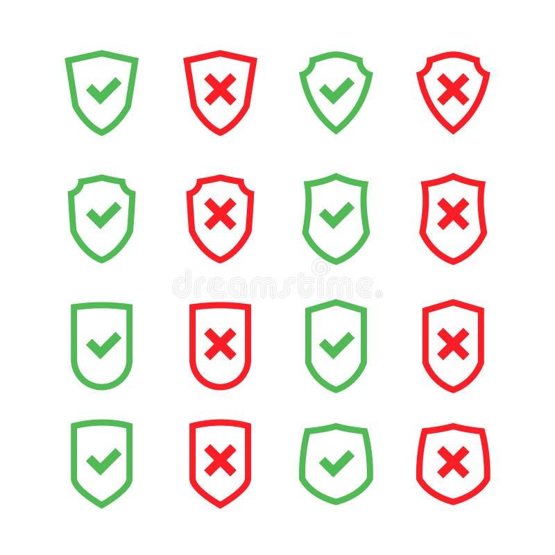 Set osłony z checkmark symbolem w płaskim projekta stylu royalty ilustracja