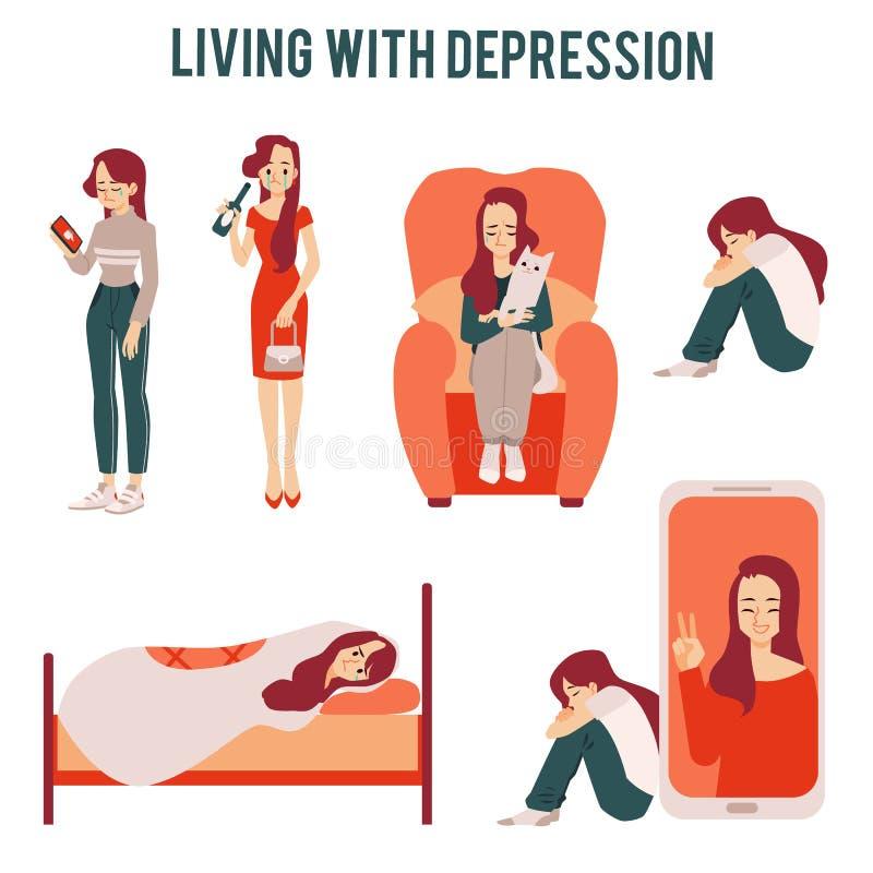Set osamotnione nieszczęśliwe kobiety cierpi od depresji lub związków ikon ilustracja wektor