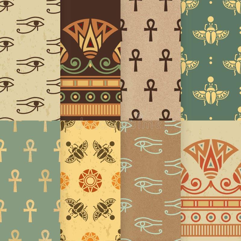 Set osiem bezszwowa wektorowa ilustracja Egipski krajowy ornament ilustracji