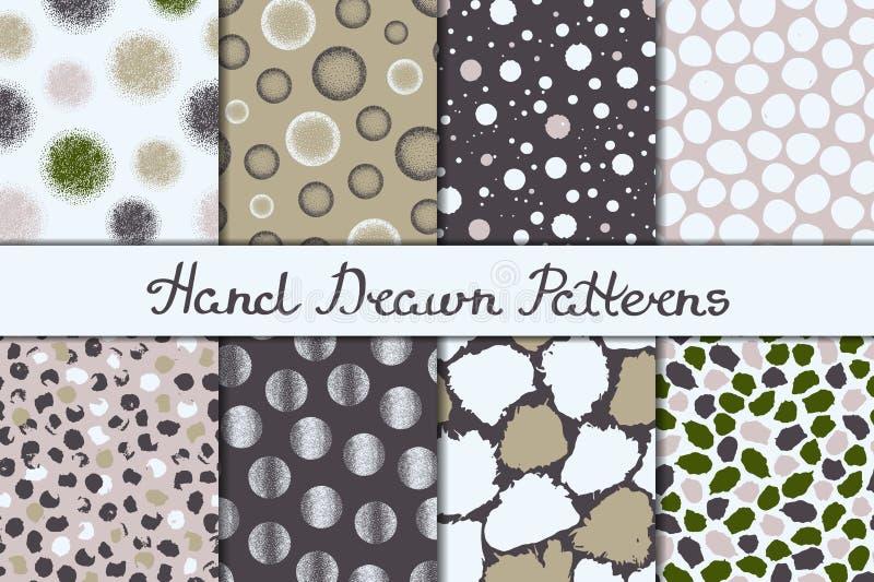 Set osiem bezszwowych tekstur Wzory z sferami, elementy i punkty, round i owalnymi Abstrakt formy rysować szeroki atrament i piór ilustracji