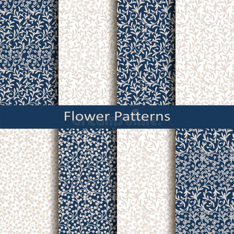 Set osiem bezszwowych wektorowych kwiatów wzorów projekt dla pakować, pokrywy, tkanina ilustracji