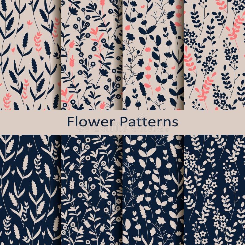 Set osiem bezszwowych wektorowych wiosen wzorów z ręka rysującym kwiatu drukiem projekt dla tkaniny, pokrywy, pakuje royalty ilustracja