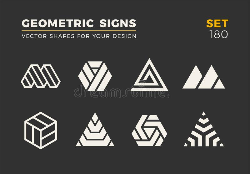 Set osiem minimalistic modnych kształtów Eleganccy wektorowi logów emblematy dla Twój projekta Prości geometryczni znaki inkasowi ilustracja wektor