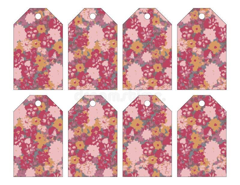 Set osiem podławych modnych grungy kwiecistych etykietek ilustracji