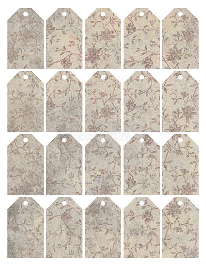 Set osiem podławych modnych grungy kwiecistych etykietek royalty ilustracja