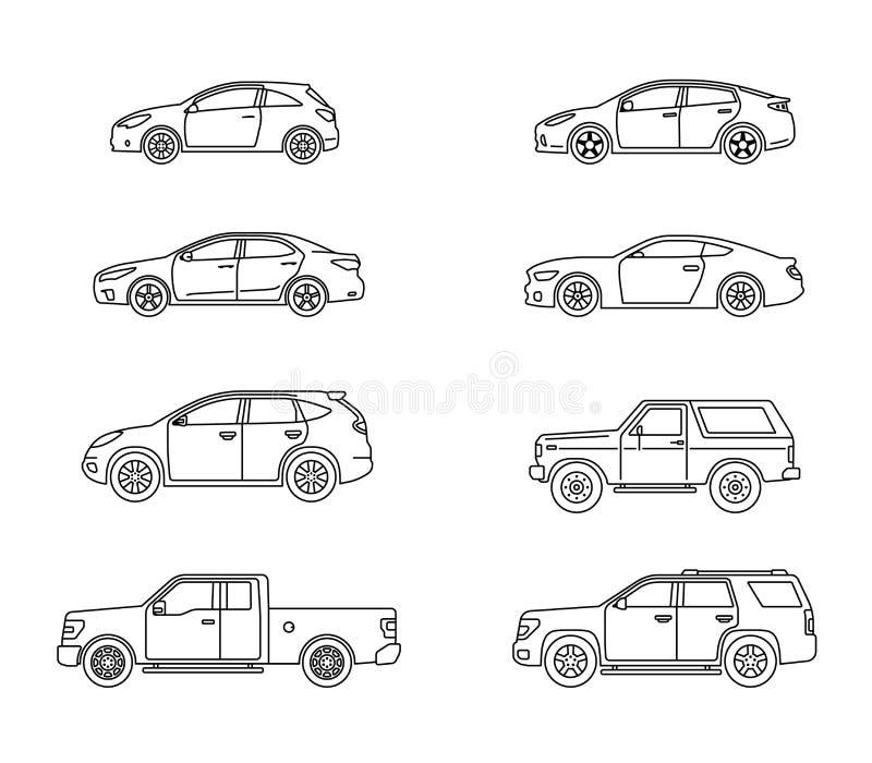 Set osobiści samochody Set samochody w mieszkanie stylu Sedan, sporta coupe samochód, hatchback, offroad suv, pickup Boczny widok ilustracji