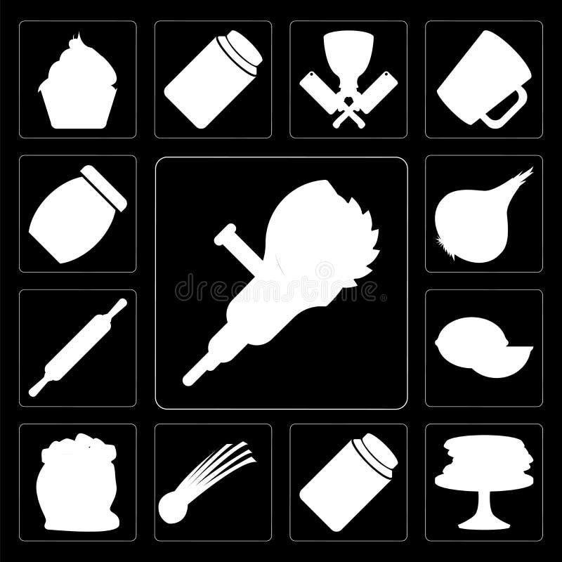 Set ostrzarz, bliny, zalewy, szczypiorki, mąka, wapno, Stacza się ilustracja wektor