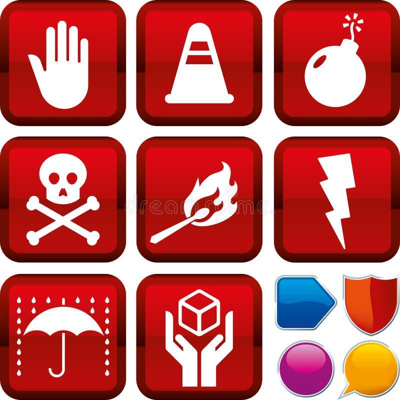 Set ostrzegawcze ikony na kwadratowych guzikach Geometryczny styl ilustracji