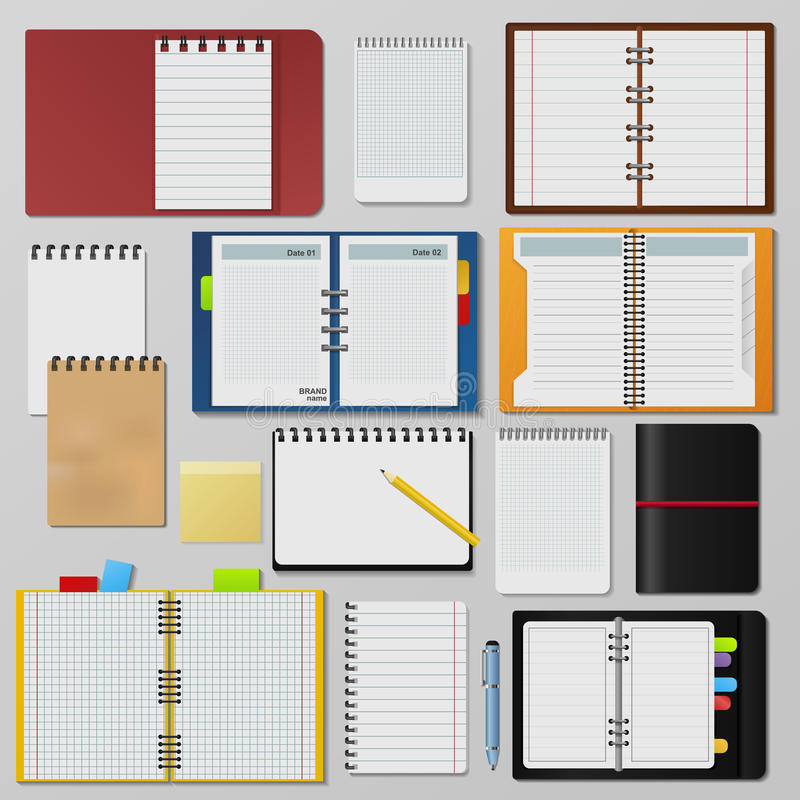 Set otwarci realistyczni notatniki czyści strona dzienniczka szablonu broszurę royalty ilustracja