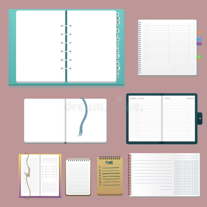 Set otwarci realistyczni notatniki z strona dzienniczka biura prześcieradła szablonu broszury i pustego papieru edukaci copybook ilustracji
