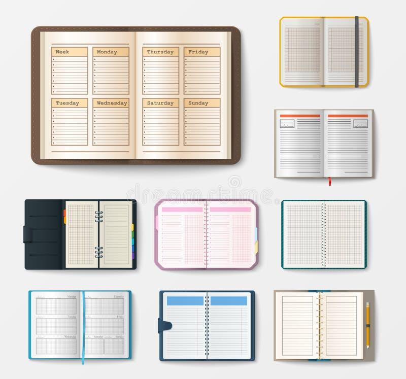 Set otwarci realistyczni notatniki z strona dzienniczka biura prześcieradła szablonu broszury i pustego papieru edukaci copybook ilustracja wektor