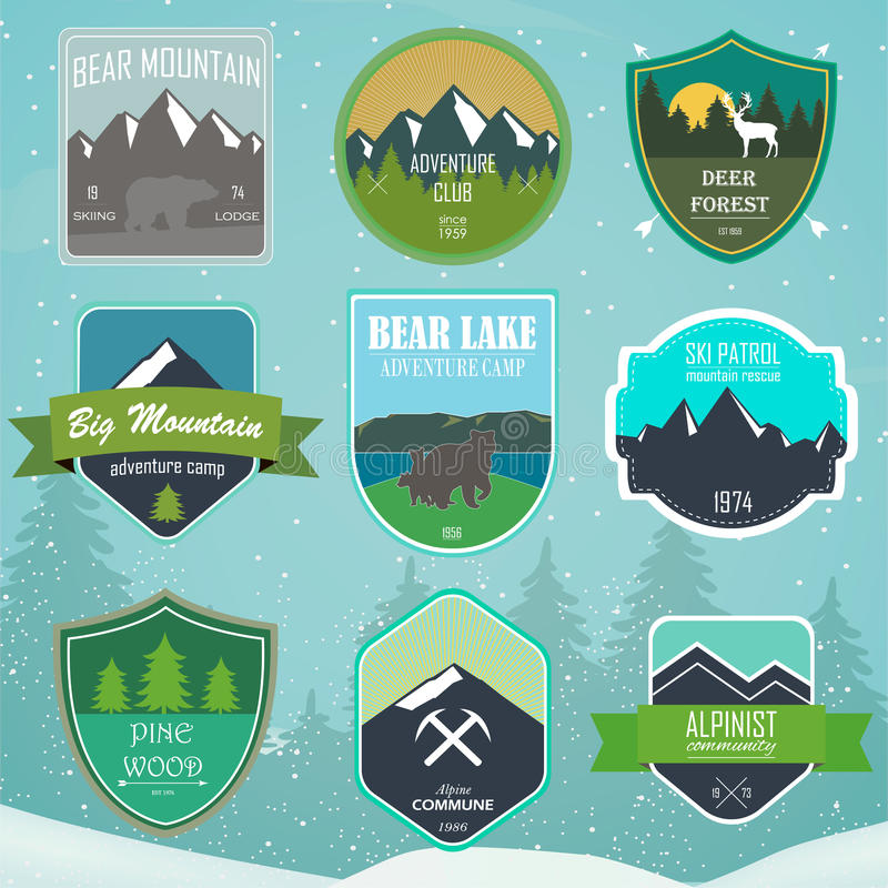Set of outdoor adventure and expedition logo badges royalty free illustration