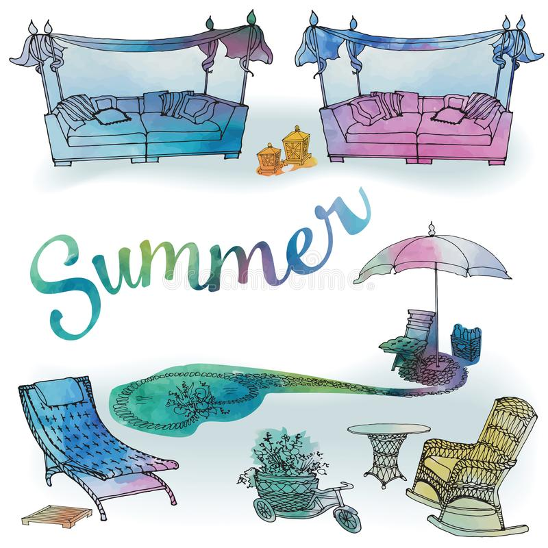 A set of outdoor furniture for summer and recreation for the gar. Den, a sofa with a canopy, a chaise longue, an umbrella and a pond, in the vector with royalty free illustration