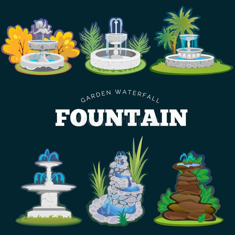 Set outdoors fontanna dla uprawiać ogródek, wiosny i lata rośliny wokoło ogrodowej siklawy, jesieni podwórze dekoracyjny ilustracji