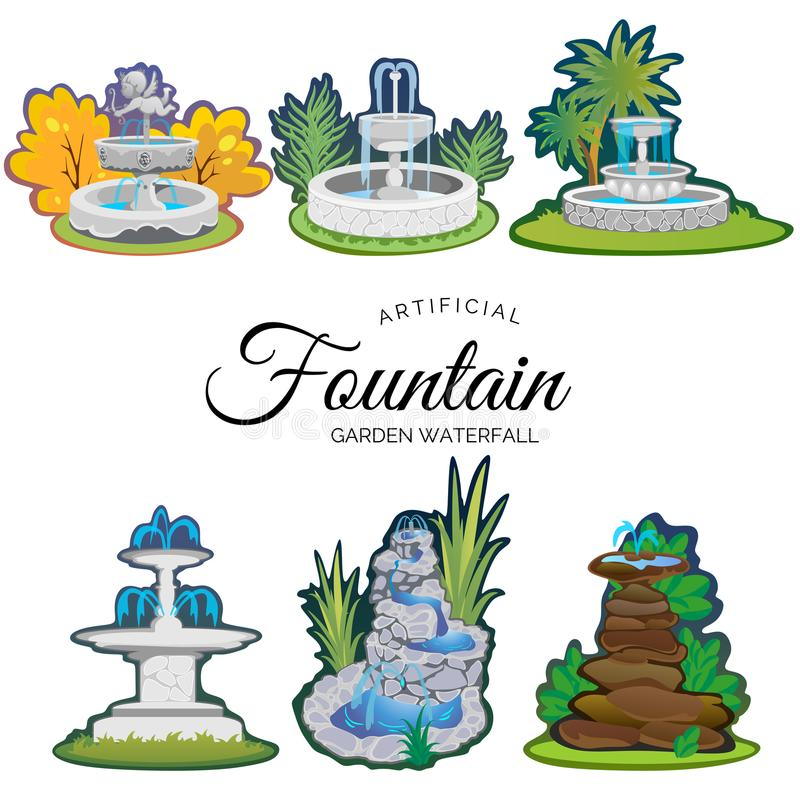 Set of outdoors fountain for gardening stock illustration