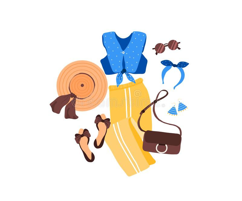 Set of outfit creator with summer fashion womens clothing top pant shoes stock illustration