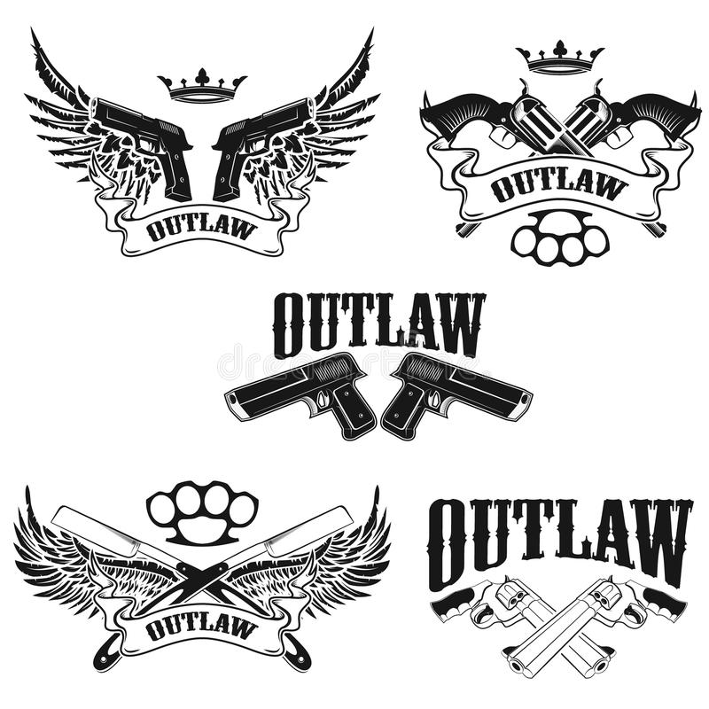 Set Of Outlaw Tshirt Print Design Templates Stock Vector - T shirt graphic design template