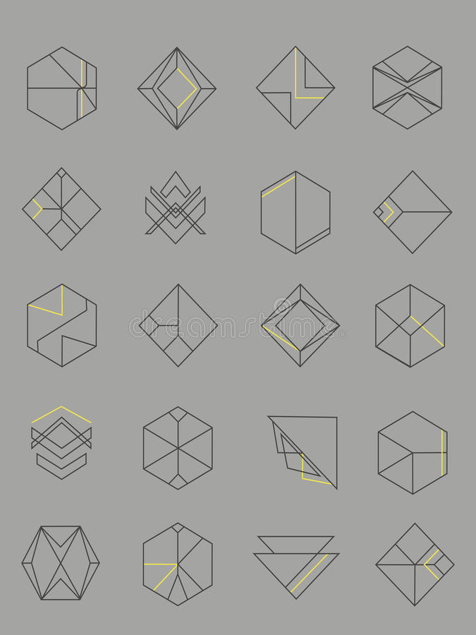 Set of outline abstract emblems stock images