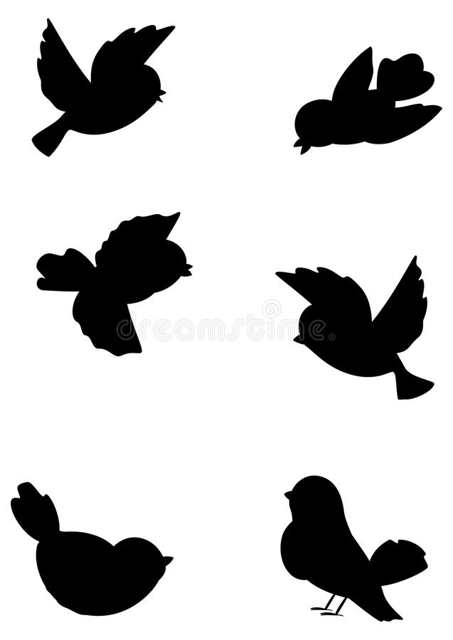 Set Outline Birds Royalty Free Stock Photo