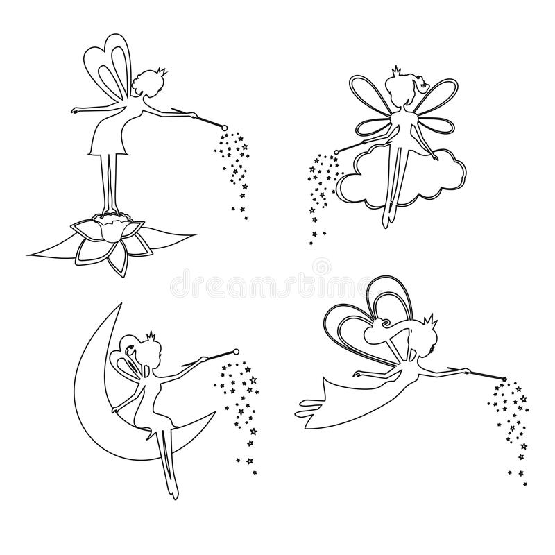 Set of outline Fairy with a magic wand. Vector illustration. Set of Thin line Fairy with a magic wand. Fairy for children,girls, kids. Silhouette Fairies vector stock illustration