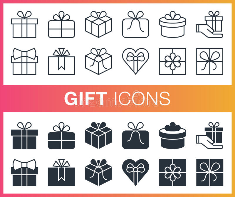 Set of outline and flat gift icons. royalty free illustration
