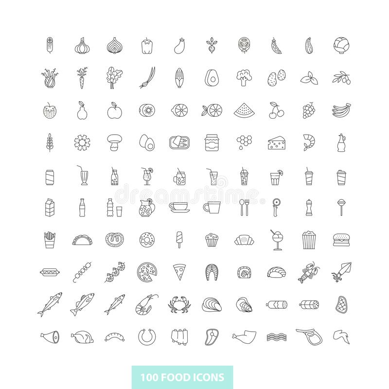 Set of outline food icons royalty free illustration