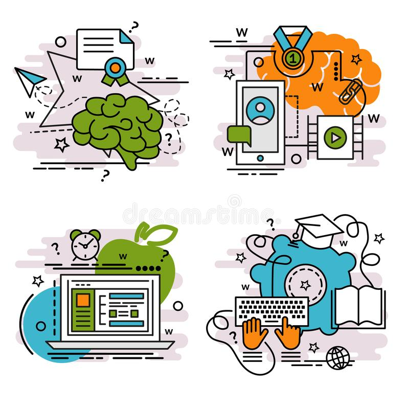Set of outline icons of E-Learning. royalty free illustration