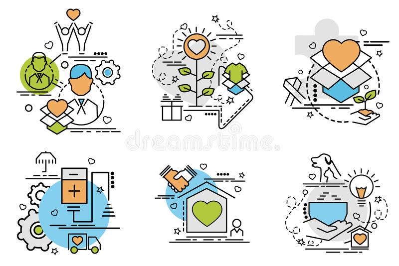 Set of outline icons of Volunteering. royalty free illustration