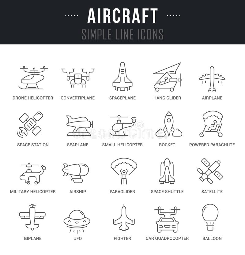 Set Vector Line Icons of Aircraft. Set of outline signs and symbols of aircraft with names. Collection vector thin line icons and infographics elements. Simple vector illustration