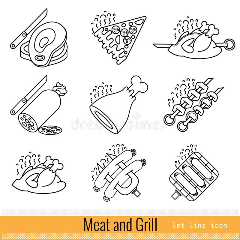 Set of outline simple web icon. Meat grill BBQ isolated stock illustration