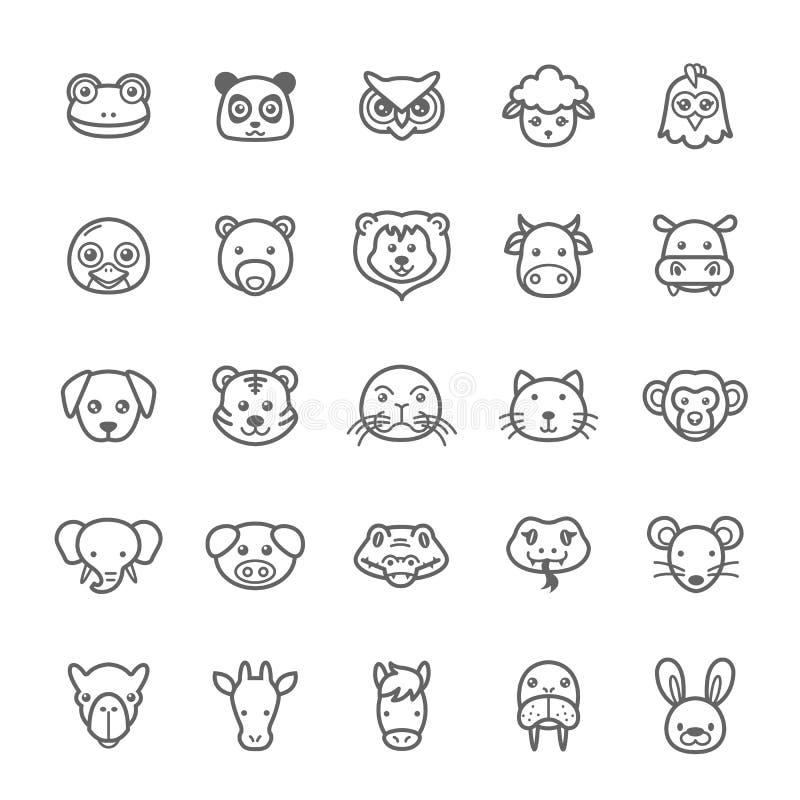 Set of Outline stroke Animal icon. Vector illustration