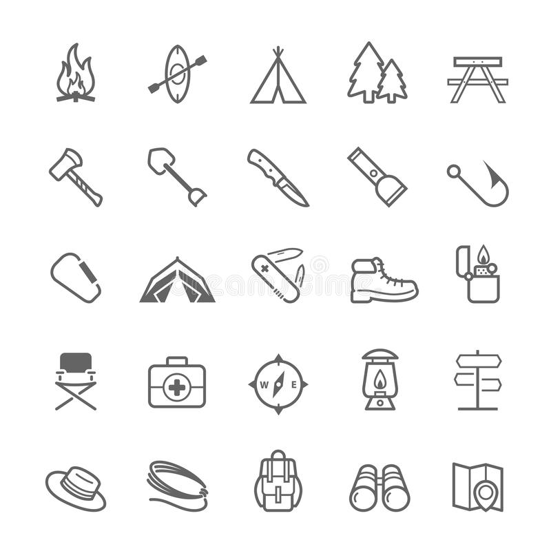 Set of Outline stroke Camping icon stock illustration