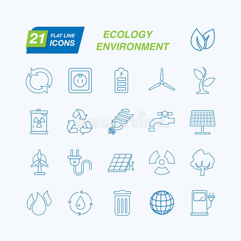 Set of Outline Stroke Ecology Icons Vector Illustration. 21 different elements. Environment vectors. Save the planet royalty free illustration