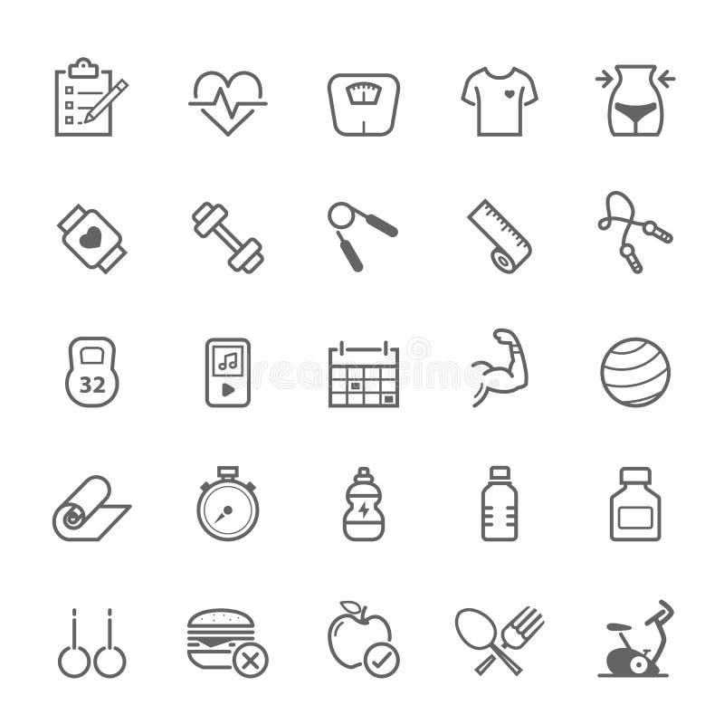 Set of Outline stroke Fitness icon royalty free illustration