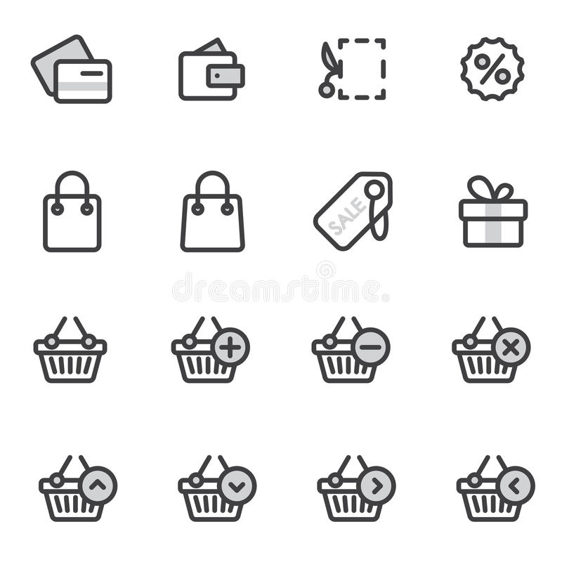 Download Set Of Outline Stroke Shopping Icons Vector Illustration Stock Photo - Image: 83712072