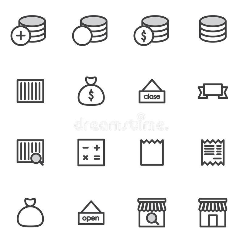 Download Set Of Outline Stroke Shopping Icons Vector Illustration Stock Image - Image: 83712561