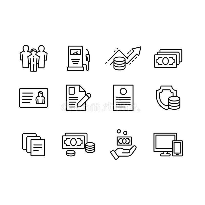 Set outline vector icon business and finance, trade exchange, money capital, financial management and insurance. Banks vector illustration