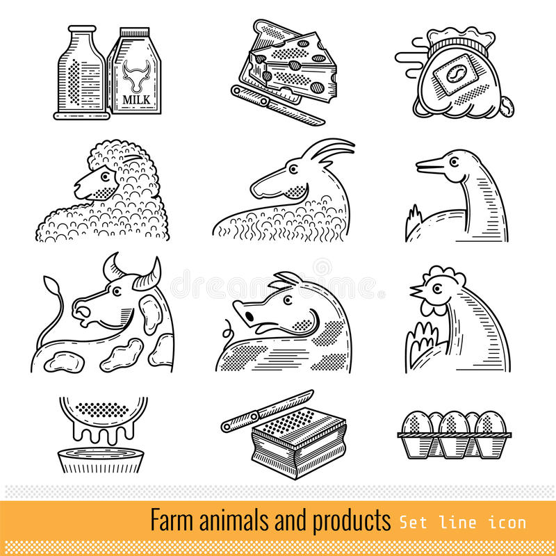 Set of Outline Web Icon. Domestic animals and products royalty free illustration