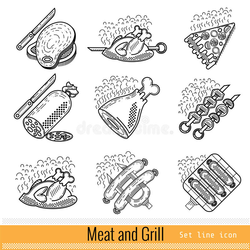 Set of Outline Web Icon. Meat Grill BBQ vector illustration