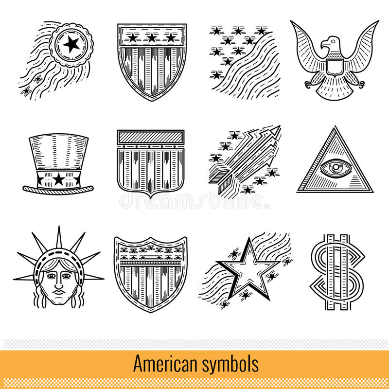 Set of Outline Web Icon. Symbols of America USA. Isolated on White royalty free illustration