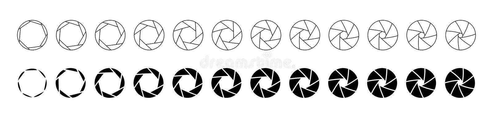 Set of outlined and silhouette lens aperture positions. Camera diaphragm stops for motion graphic animation. Set of outlined and silhouette lens aperture stock illustration