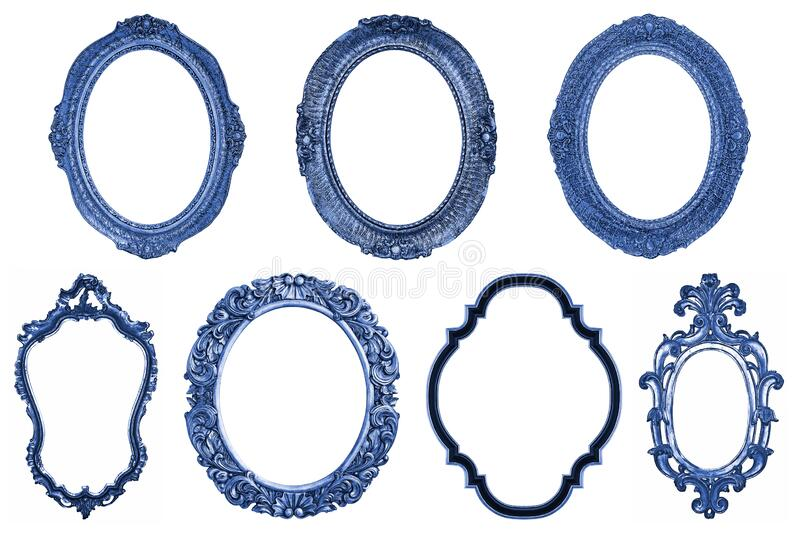 Set of oval Decorative vintage blue wooden frames isolated on white royalty free stock images