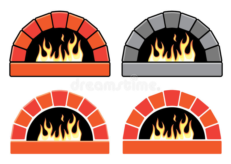 vector set of ovens with burning fire royalty free illustration