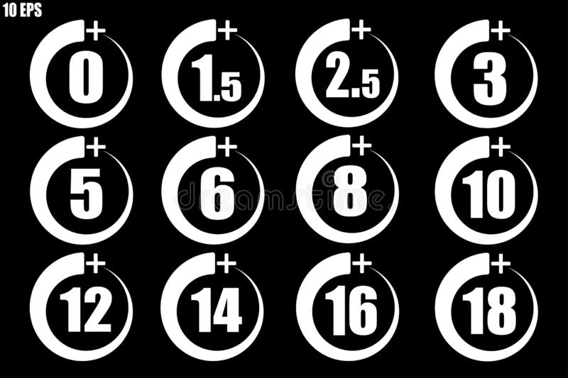 Set of over some yaers old icons white thin line - vector stock illustration