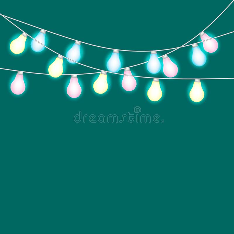 Set of overlapping, glowing string lights. Christmas glowing lights. Garlands, Christmas decorations. royalty free illustration